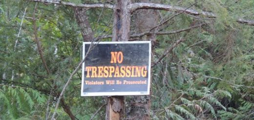 No Trespassing Sign on private property