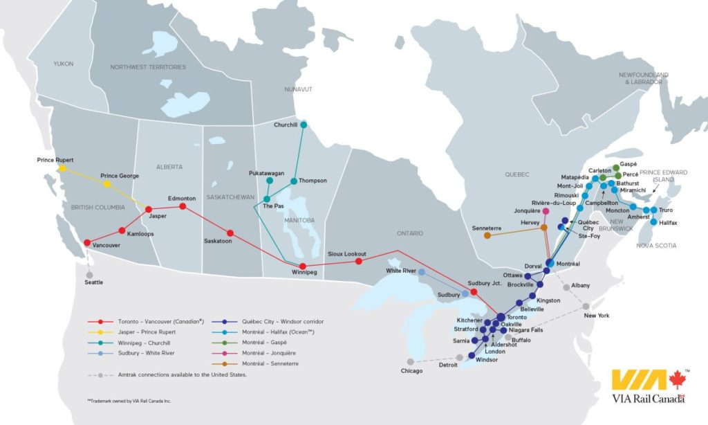 Train Travel in Canada - Route Map