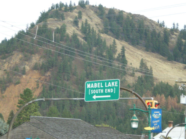 Sign for Mabel Lake